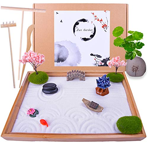 Japanese Zen Garden - Home & Office Desk Mini Garden with Rock Vase...