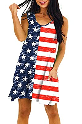 July 4th Dress Material - 95% Polyester & 5% Spandex, Breathable and Lightweight Material with Stretch. Machine Washable, Wash in Cold Water and Dry on Low Heat. July 4th Dress Features - This Summer Dress Features V-Neck, Sleeveless, and American Fl...