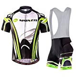 sponeed Bike Kits Mens Cycling Bib Shorts Padded Riding Bicycle Jersey Tops Asian XL/US L Green Multi