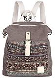 ArcEnCiel Women Girl Backpack Canvas Rucksack Shoulder Bag (Gray)