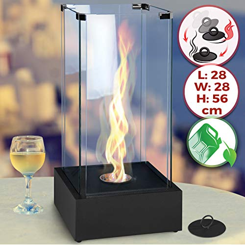 Tabletop Bio-Ethanol Fireplace - 28 x 28 x 56 cm, Stainless Steel Body, 4 Heat Resistant Glass Panels, Single Burner, with Extinguishing Tool - Portable Fire Pit