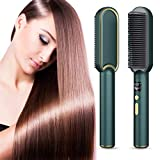 Ionic Hair Straightener Brush, eYotto Hot Hair Straightening Iron with Built-in Comb, Anti Scald Auto-Off LCD Indicator Portable 30s Fast Heating Brush for All Hair Types-Green