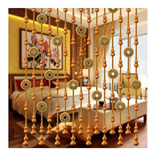 JFFFFWI Beaded Curtain Wood Beads Door String Curtains Room Divider Breathable Partition for Dwelling Room/Bed room/Lavatory/Balcony Copper Coin Design, Customizable Measurement