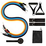 Resistance Bands Set of 11, Gifts for Exercise Bands Set with 5 Elastic Ropes, 2 Handles, 2 Foot Rings, 1 Door Anchor, 1 Portable Bag for Home Workouts, Physical Therapy, Gym Training and Yoga
