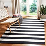 Safavieh Montauk Collection MTK712D Handmade Flatweave Black and Ivory Cotton Area Rug (3' x 5')