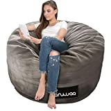 Bean Bag Chair, Giant 4' Memory Foam Bean Bag for Kids,Teens, Adults, Big Sofa with Fluffy Removable Microfiber Cover, Furnitures for Dorm Room and Living Room, Warm Grey