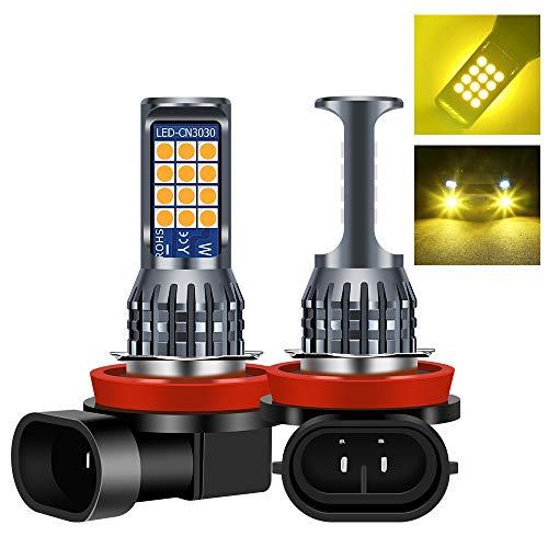 Sidaqi 2Pcs Bright H8 / H11 7.2W Lampadine fendinebbia a led per auto 2835 24 SMD per luce di marcia diurna DRL Fendinebbia 12V (giallo)