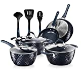 Nutrichef Nonstick Cookware Excilon Home Kitchen Ware Pots & Pan Set with Saucepan Frying Pans, Cooking Pots, Lids, Utensil PTFE/PFOA/PFOS free, 11 Pcs, Blue Diamond