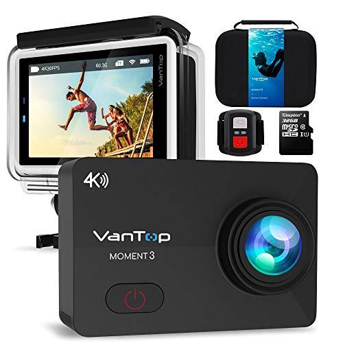 """VANTOP Moment 3 Action Cam 4K WiFi Sports Kamera Helmkamera 16MP Wasserdicht Unterwasserkamera Ultra HD 2.26\"""" LCD 170° Weitwinkelobjektiv 32 GB TF-Karte mit 2 Batterien und Kostenlose Zubehör Kits"""