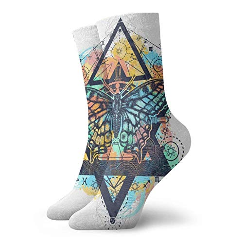LLeaf Calcetines deportivos Mystical Hexagonal Star Butter-fly Crew para hombres y mujeres Calcetines de vestir transpirables clásicos 30 cm