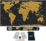 WIDETA Carte du monde à gratter Français, XXL (82 x 43 cm)/ Papier couché extra épais 300 g/m2,...