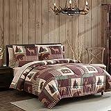 7-Piece Rustic Cabin King Comforter Bed in a Bag Bedding Set with Deep Pocket Sheets, Bear Deer Lodge Brown Green