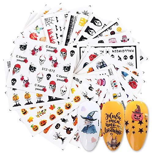 Halloween Nail Art Stickers, 24 Sheets Water Transfer Nail Decals Colorfull Halloween Nail Stickers Skull Devil Vampires Pumpkin Art Design for DIY Nails Design Manicure Tips Nail Art Decor
