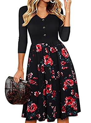 💓 FASHIONABLE DECORATIVE FRONT BUTTONS : This women's vintage patchwork swing casual party work dresses features front contrast decorative buttons make you more charming! V neckline cut, looking so sexy. Very flattering on the body. The Invisible zip...