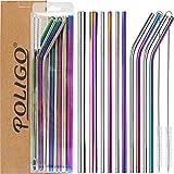 POLIGO 13 pièces ensemble de pailles en inox - pailles réutilisables inox - 4pcs incurvées, 4pcs...