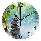 AABAO Pierres Zen et Horloge Murale Ronde en Bambou, Peinture à l'huile silencieuse...