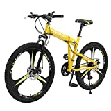 26in Moutain Bike 21 Speed ​​Gears Dual Disc Brakes Mountain Bicycle Folding Outdoor Bicycle for Men and Women【Shipping from U.S】 (Yellow)