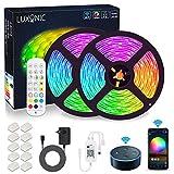 WIFI Tira de LED 10 m,LUXONIC RGB tiras de luces 5050 SMD 300, sincronización con música, banda LED controlada por aplicación de teléfono inteligente, funciona con Alexa, Google Home
