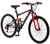 Mongoose Status 2.2 Mens and Womens Mountain Bike, 26-Inch Wheels, 21-Speed Shifters, Aluminum Frame, Front Suspension,a Black/Red