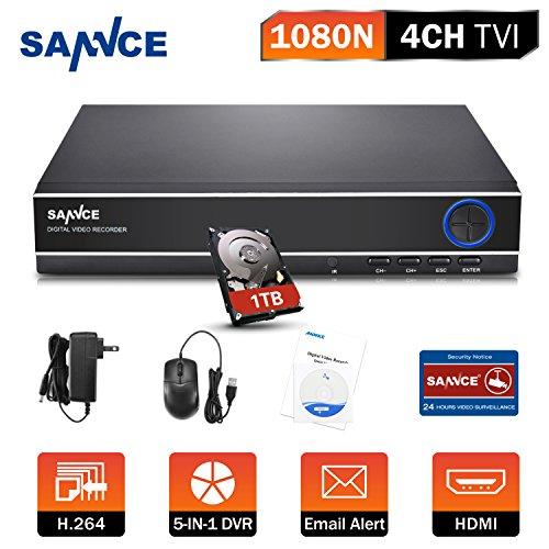 SANNCE DVR 4ch 1080N Videoregistratore H.264 HDMI P2P ONVIF compatibile con Telecamera IP/AHD/TVI/CVI/Analogica Videosorveglianza Domestica con 1TB HDD