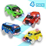 WenSha Track Cars, Toy Cars for Magic Tracks Glow in The Dark,Compatible with Most Tracks Light Up Replacement Car Toys, Glow in The Dark Car Tracks Accessories with 5 Flashing LED Lights, ( 4 Pack )