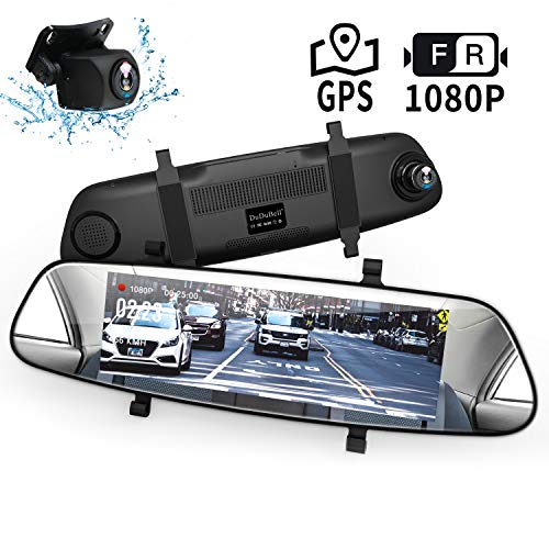 Mirror Dash Cam, DuDuBell 7' Backup Camera with External GPS, 1080P Front and 1080P Rear Camera with Starlight Night Vision IPS Touch Screen 290 Wide Angle, Reverse Assistance Parking Monitor HDR+