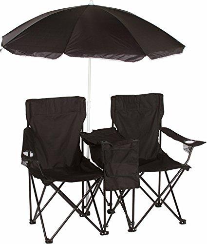 Trademark Innovations Silla Doble, Plegable, para Playa y Campamento, con Paraguas removible e hielera, Color Negro