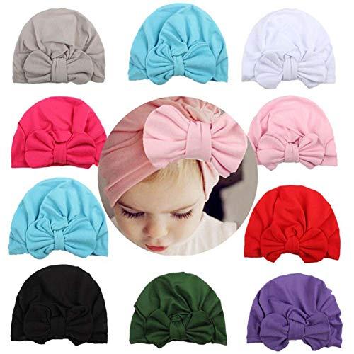 Udolove Baby Headband Set- Girl Soft Turban Knot Rabbit Headwrap Hospital Hat (10pcs Set)