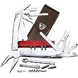 Victorinox Swiss Tool Spirit XC Plus Ratchet, 36 Funktionen, Klinge mit Wellenschliff, Kombi-Spitzzange, Leder Etui, silber