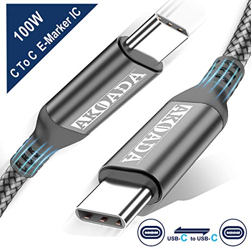 AkoaDa USB-C to USB-C 100W Cable 10ft, USB C Braided Fast Charging Cable Compatible with MacBook Pro 2020/2019/2018, iPad Pro 2020/2019/2018, Samsung Galaxy S20,Pixelbookand Type-C Laptops (Grey)