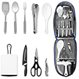NEXGADGET Camping Kitchen Utensil Set, Portable 9-Piece Stainless Steel Outdoor Cooking and Grilling Utensil with Organizing Bag, Cookware Kit Perfect for Travel, Picnics, RVs, Camping, BBQs and More