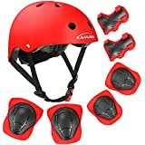 KAMUGO Kids Youth Adjustable Sports Protective Gear Set Safety Pad Safeguard (Helmet Knee Elbow Wrist) Roller Bicycle BMX Bike Skateboard Hoverboard and Other Extreme Sports Activities