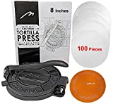 Heavy Duty Pre-seasoned Cast Iron 8 Inches Maquina Tortilla Press Roti Pita Pataconera with 100 Tortilla Wax Paper. Free Replacement, If Damaged in 30 Days