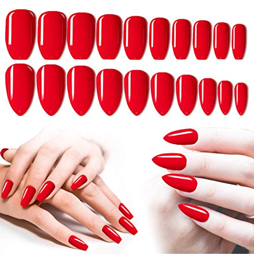 Red Press On Nails, 200PCS Cosics Glossy Colored Press Nails Coffin Ballerina & Almond Shaped Fake Nails Medium, Full Cover Acrylic False Nail Tips with Box for Christmas Party Nail Art Design