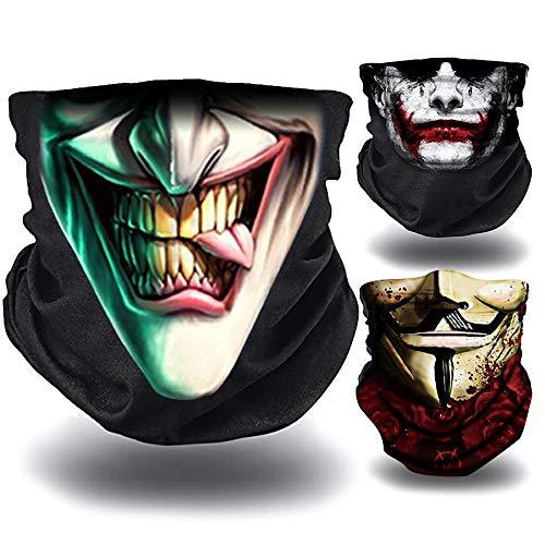 O Scaldacollo Joker 3 Scaldacollo Moto, Bicicleta, Trekking | Bandana Multifunzione Leggero Copri Bocca - Antivento | Scaldacollo Estivo: Joker, Sorriso e Casa di Carta