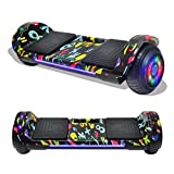 TPS Hoverboard Self Balancing Scooter with Speaker LED Lights Flashing Wheels for Kids and Adults Hover Board - UL Certified (Graffiti Black)