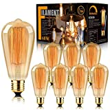 8-Pack Edison Bulb Antique Vintage Style Light Bulbs Dimmable Amber Warm 60W E26 Base for Wall Sconce Retro Fixture by LUXON
