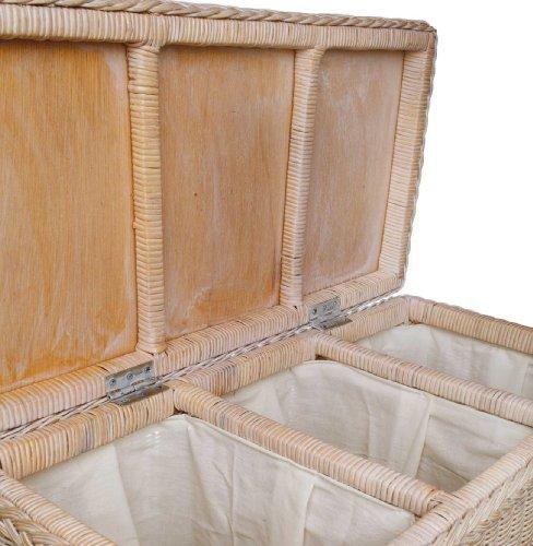 URBANARA Wäschekorb Java - 100% Rattan, Wäschebox rechteckig mit Klappdeckel und DREI Fächern - Wäschesammler (78 x 40 x 68 cm, Weiß)