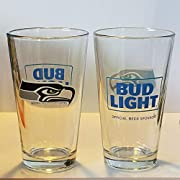 "Seattle Seahawks Bud Light Pint Glasses - Set of 2. 2 sided logos 16oz Pint Glass 5.78"" Tall,"