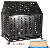 Haige Pet Your Pet Nanny 42'' Heavy Duty Dog Crate Cage Kennel Playpen Large Roof Steel Strong Metal for Medium and Large Dogs with Lock and Four Lockable Wheels