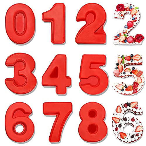 Juego de moldes de silicona con números 3D,Números de moldes para tartas,9 piezas de Molde de Silicona Número,0 – 8 moldes de silicona para tartas, para cumpleaños, bodas, aniversarios (1)
