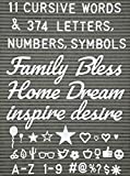 Extra Letters Set With Words - 11 Cursive Words and 374 Letters, Numbers, Symbols and Emoji's with Bonus Storage Bag(No Board) (Office Product)