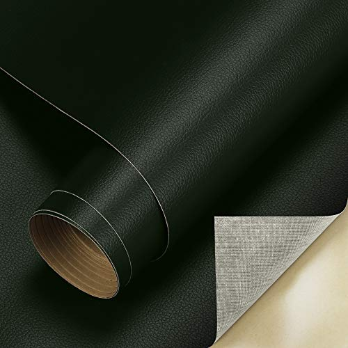 Cahomo 60 x 300 cm (1 rotolo) pellicola autoadesiva in pelle PU, tessuto similpelle vinile rivestimento rivestimento per credenza, borsa in pelle, sedile auto, divano mobili riparazione verde