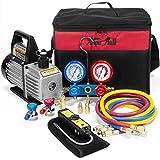 XtremepowerUS Premium 4CFM Air Vacuum Pump HVAC A/C Refrigeration Kit AC Manifold Gauge Case Set R134a Tap w/Leak Detector and Carrying Tote Bag