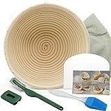 10 Inch Banneton proofing basket sets Bread bowl Bread lame Dough Scraper Proofing Cloth Liner for Sourdough Bread Baking Tools for Home Baker