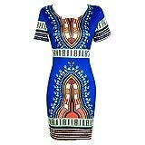 SHOBDW Women Women Dress, Traditional African Print Dashiki Bodycon Sexy Short Sleeve Dress (L, Blue)