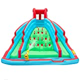 Deluxe Inflatable Water Slide Park Heavy-Duty Nylon Bouncy Station for Outdoor Fun - Climbing Wall, Two Slides & Splash Pool Easy to Set Up & Inflate with Included Air Pump & Carrying Case