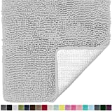 Gorilla Grip Original Luxury Chenille Bathroom Rug Mat, 24x17, Extra Soft and Absorbent Shaggy Rugs, Machine Wash Dry, Perfect Plush Carpet Mats for Tub, Shower, and Bath Room, Light Gray