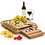 Bambüsi Bamboo Cheese Board and Cutlery Set - Wooden Serving Tray with Slide-Out Hidden Drawer and...