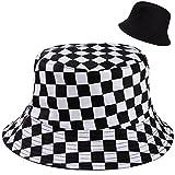 MengH-SHOP Chapeau de Seau Réversible Noir et Blanc Imprimé à Carreaux Chapeau de Pêcheur en Coton Unisexe Pliable Chapeau de Soleil pour Randonnée Camping Voyage Pêche (56-58cm)